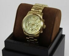 NEW AUTHENTIC MICHAEL KORS RUNWAY MIDSIZED CHRONOGRAPH GOLD WOMEN'S MK5055 WATCH