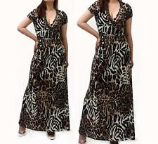 Sexy Plus Size Leopard Waist Tie Wrap Cleavage Summer Maxi Dress 2X US Made
