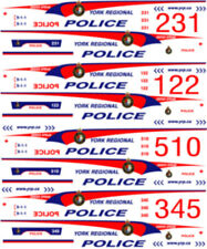 1/26 SCALE YORK REGIONAL POLICE DECALS -  FOR WELLY FORD CROWN VICTORIA