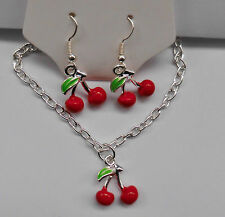 Rockabilly Cherry Necklace & Earrings, Retro, 50s, Kitch, Vintage.