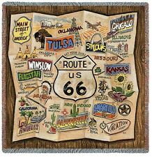 Old Route 66 Vintage Retro Map Art Tapestry Throw Jacquard Woven Cotton
