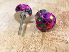 MULTI-COLORED PEARL WITH BASE CABINET DRAWER DRESSER FURNITURE PULL KNOBS