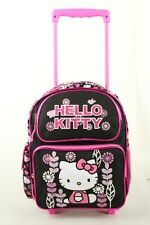 "Hello Kitty Flower Small 12"" Girls Rolling BackPack Kids Rolling Bag Black Pink"