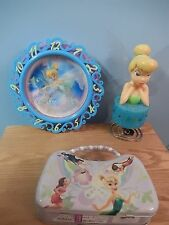 Disney Tinkerbell Lot - Clock, Lamp and Purse or Lunchbox