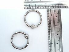 Pair Stainless Steel Captives Earrings Hoops 12 gauge 12g 16mm Diameter