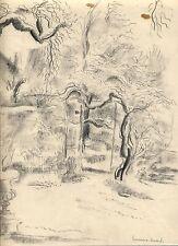 """Hermine DAVID dessin crayon (c.1935)/ """"arbres du Jardin du Luxembourg à Paris""""/"""