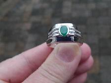 Platinum/SS 1.45tgw Genuine Zambian Emerald, White Topaz Ring Size 12