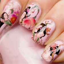 Chinese Painting Beauty Aspara Flat Peach Nail Water Decals Sticker XF1265