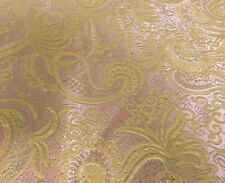 "PINK/GOLD PAISLEY METALLIC BROCADE FABRIC 60"" WIDE 1 YARD"