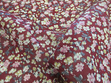 "3 Metres Burgundy ""Blossoms"" Summer Floral Printed 100% Cotton LAWN Fabric"