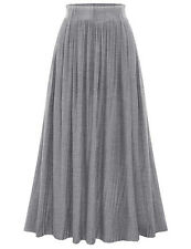 US Summer Womens Stretch Elastic High Waist Pleated Flared Skirt Long Maxi Dress