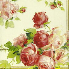 4x Single Table Party Paper Napkins for Decoupage Decopatch Rose Victoria White