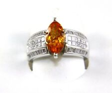 Marquise Orange Mandarin Garnet Gemstone & Diamond Ring 14k White Gold 3.12Ct