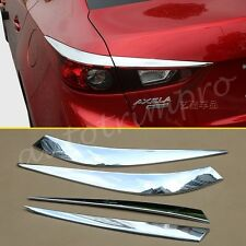 4X Chrome Rear Tail Lamp Light Cover Trims FOR 2014-2016 Mazda 3 Sedan Accessory