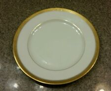"Theodore Haviland Limoges Porcelain 7.5"" Bread Side  Plate GOLD Gilt Feather Rim"