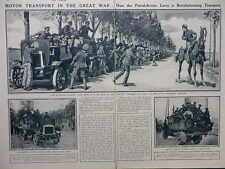 1914 MOTOR TRANSPORT REVOLUTION OF PETROL DRIVEN LORRY WWI WW1 DOUBLE PAGE