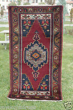 Authentic Turkish Triba Natural Dyes 3'5''x6'7'' Wool Pile Carpet 1930s Turkey