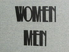 Men and Women Wall Word Sign Set Art Deco Letter Style Black Bathroom Signs