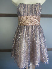 New Years Eve Dress 9 10 Silver Gold Tulle Strapless Back Sash