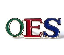 Order of the Eastern Star OES Colored Letters Lapel Pin with Gold Trim -New!
