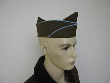 US Army Officer`s Olive Drap Garrison Cap Schiffchen 61 Side Cap Blue Pipe WWII