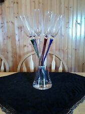 Set of 6 Korbel Toasting Glasses Hand blown Six Different Colors Vase Included