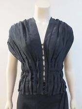 VINTAGE YVES SAINT LAURENT Rive Gauche Black Silk Blouse Top Shirt Sz 40 NEW TAG