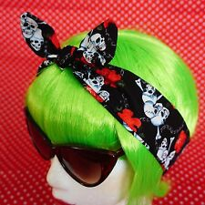 Head Hair Scarf Black Skull Rose Chains Headband 50s Retro Land Girl Goth Emo