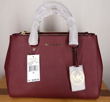 Genuine New Michael Kors Sutton Medium Merlot Saffiano Leather Tote Bag