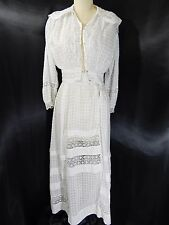 Edwardian ANTIQUE DRESS~WHITE COTTON w/Lace Trim VINTAGE GOWN~Ribbon Victorian S