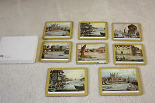 8 Vintage Clover Leaf Table Place Mats Cork Backed England Old London River