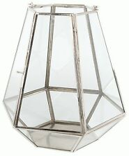 Hanging Clear Glass Hexagonal Terrarium Tealight Candle Holder 21Cm X 23Cm