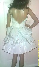 VTG 80'S XS SEAFOAM GREEN WHITE LACE HUGEST BACK BOW PARTY PROM DRESS FORMAL