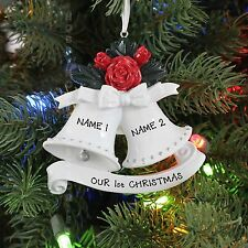 COUPLES NEW WEDDING BELLS PERSONALIZED CHRISTMAS TREE ORNAMENT HOLIDAY GIFT 2016
