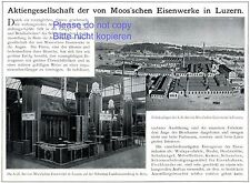 Moos´sche Eisenwerke Luzern Reklame 1913 Moos Eisenwerk Schweiz Werbung +
