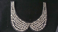 SEW ON NECK COLLAR BLACK WITH GOLD RHINESTONES