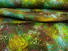 Tissu jersey,Batik,Coton,Turquoise,Vert,Brun,géométrique Motif,Article au mètre