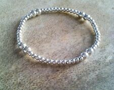 Silver Stretch Bracelet with Silver Ball Beads, Simple, Dainty ideal gift