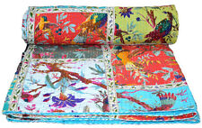 Indian Patchwork Vintage Kantha Quilt Handmade Throw Cotton New Queen Size Quilt