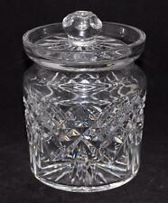 Wateford Crystal Biscuit Barrel, Criss Cross Pattern Upside Down Fan, Smooth Rim