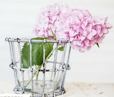 Wire Crate with Glass insert Vase Floral Container~VINTAGE STYLE BARN WEDDING