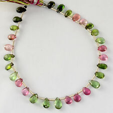 Rare Gem Grade Tourmaline Faceted Pear Briolette Beads 7.5 inch strand