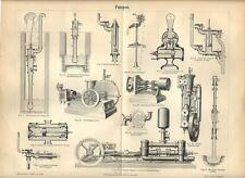 Stampa antica POMPE INDUSTRIALI macchine e attrezzature 1890 Old antique print
