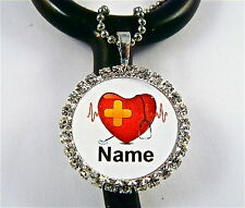 ID STETHOSCOPE NAME TAG BLING CHARM,ALL HEART RN NURSE,FITS ALL INCL. LITTMANN