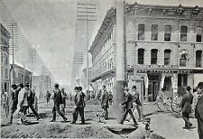 CROSSING A STREET IN DENVER at the end of 19th - Heliogravure of 19th c.