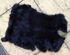 black real genuine rabbit fur skin pelt hide fabric material art craft sewing