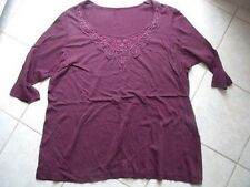 TB0330 Damen Shirt Tunika Bordeaux Dunkelrot Spitze Häkel Gr.L XL TOP