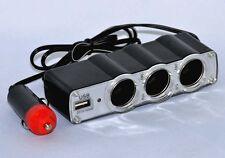 12V 24V 3Fach Kfz Auto Zigarettenanzünder Verteiler Buchse mit USB Steckdose