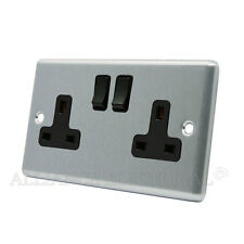 Brushed Satin Chrome Classical Socket 2 Gang -13 Amp Double 2G Plug Outlet Point