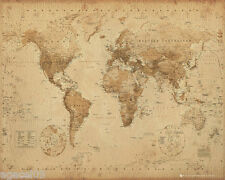 MINI WORLD MAP ANTIQUE STYLE 40 x 50cm POSTER WALL BRAND NEW GREAT PRESENT